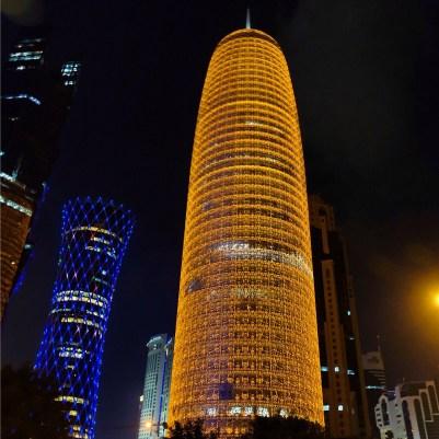 Doha Corniche skyline nighttime city lights