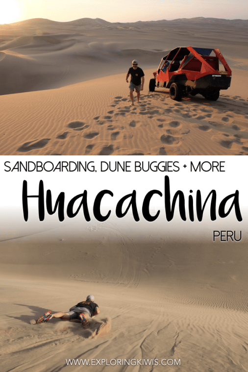 Huacachina, Peru, is home to the best sandboarding and cheapest dune buggy tours in the world! Near Ica, this tiny oasis town should be a must-see on your Peruvian travels. #southamerica #peru #sandboarding #adventure
