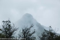 Spectacular mountain top clouded in mist