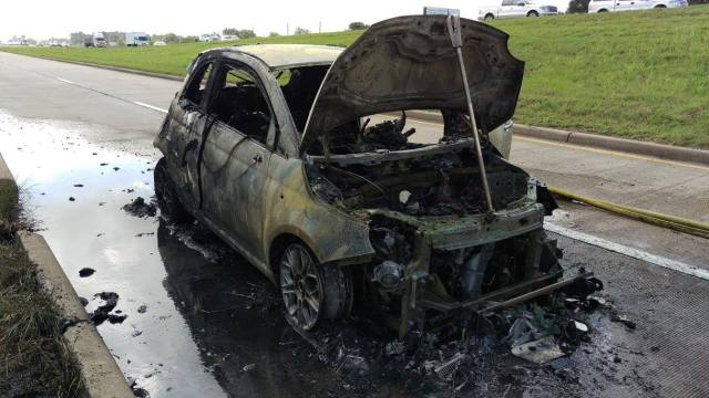 Tow vehicle burned to the ground