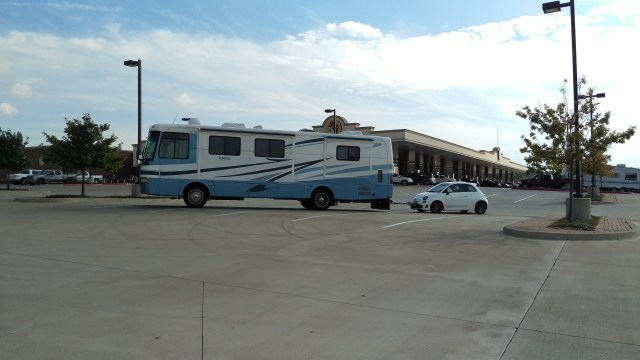 Big Blue and Bart the Fiat toad, ready for our RV trip