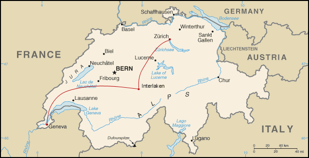 Switzerland Map Country Europe Travel Adventure Route