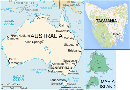 Map Of Australia And Tasmania.Famous Rocks Of Maria Island Tasmania From Painted To Fossil