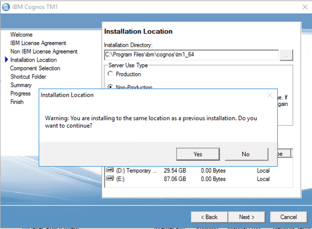 Installation of TM1 in the same location as previous installation.