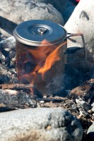SnowPeak Titanium Solo cooking on a beach on the North Coast Trail