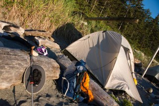 My Big Agnes Flycreek 2 sitting on Nissen Bight, part of the North Coast Trail