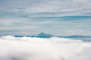 The majestic Mt Baker, viewed from the summit of Mt Moriarty