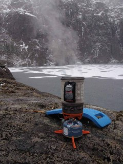 Brewing coffee at the frozen lake, Triple Peak