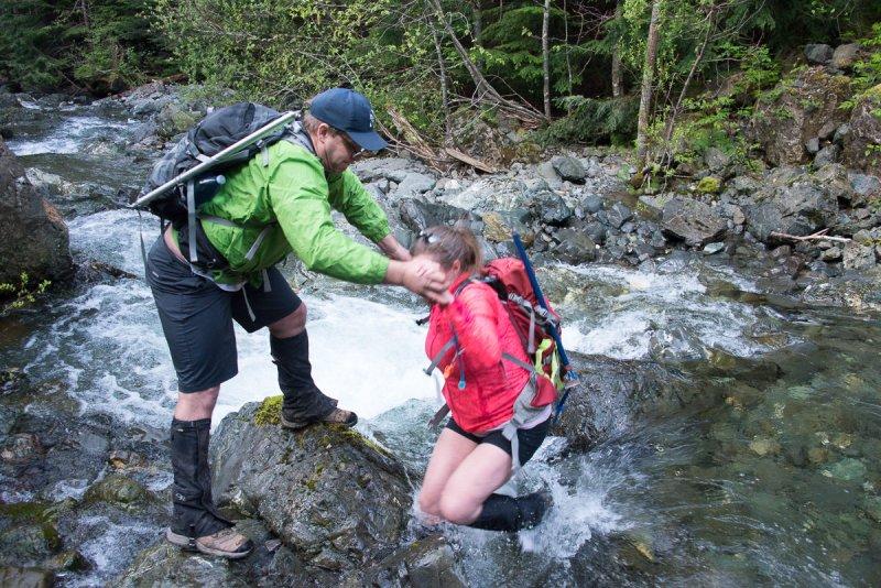 Stefanie falling in the Stowe Creek