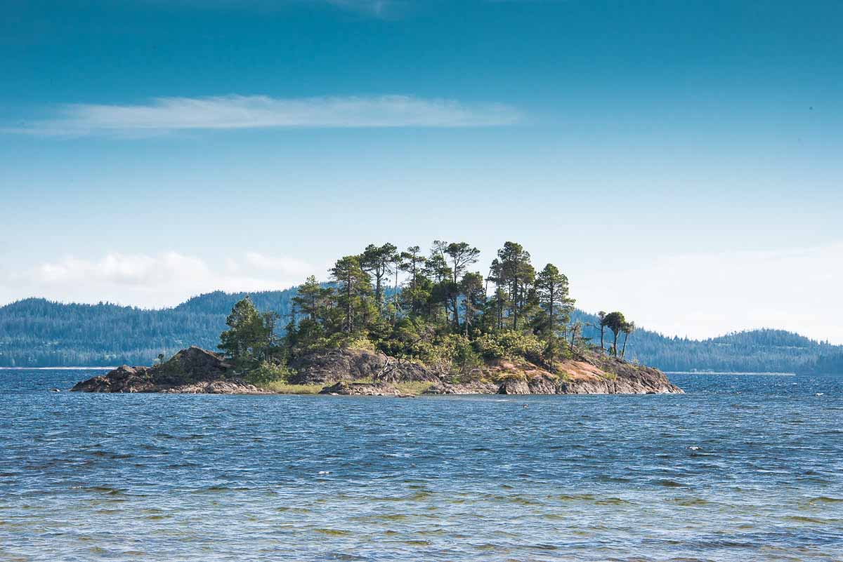 A view of the small island from our camp on Secret Beach on Kennedy Lake.