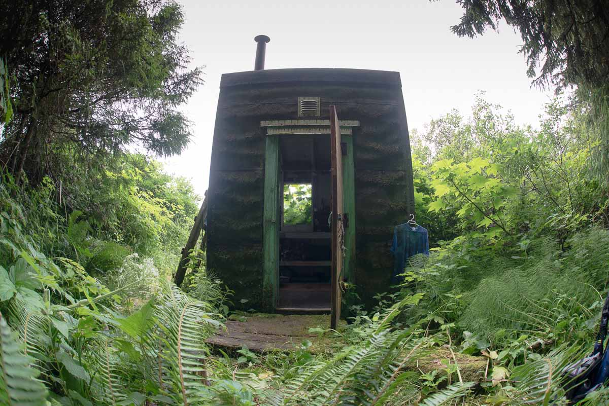 Lowrie Bay's tiny cabin features a bunk bed suitable for sleeping two.