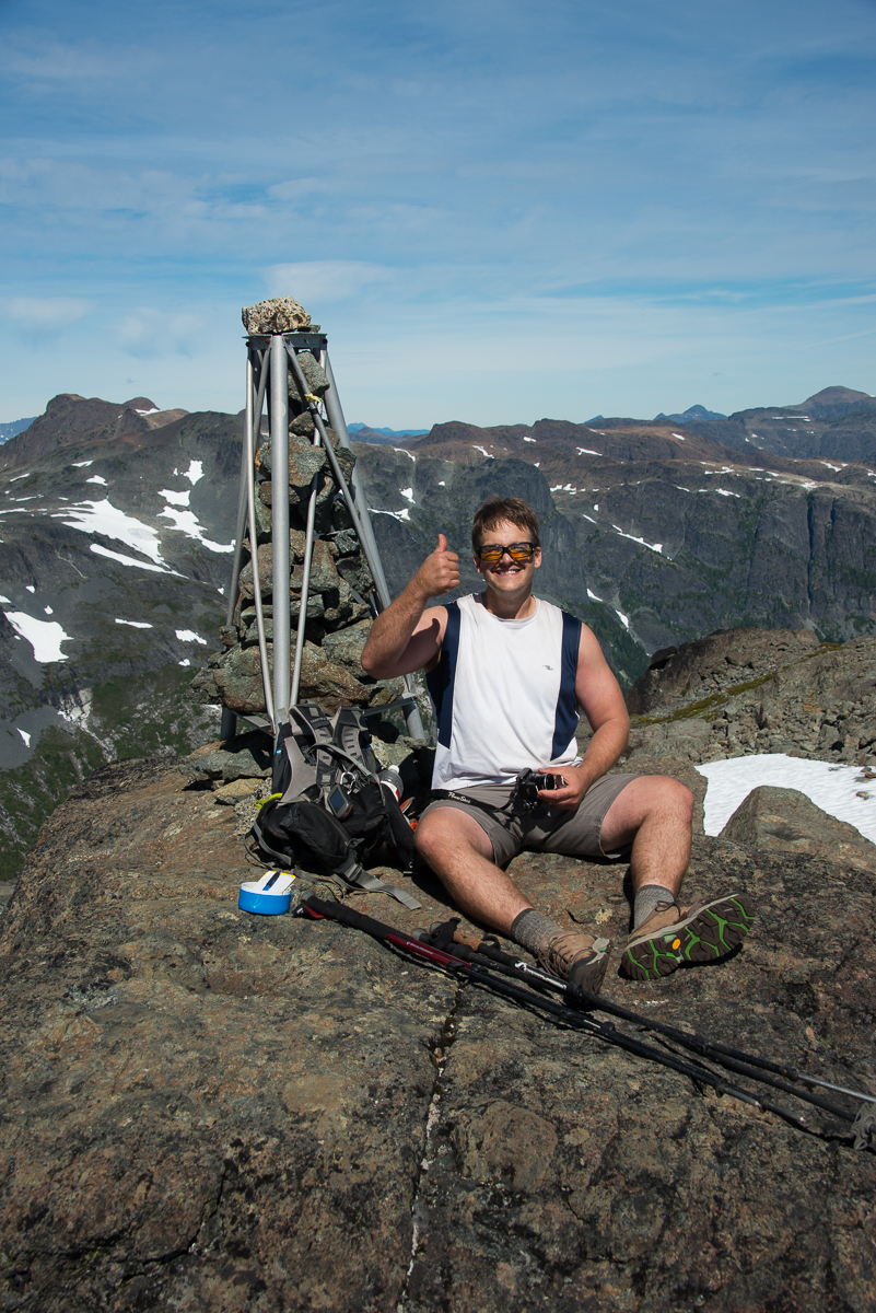 Phil relaxing on the summit of the Comox Glaccier