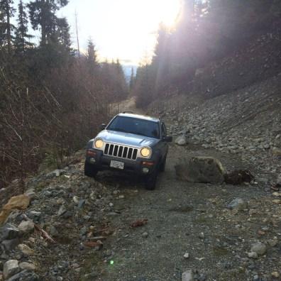 Vancouver Island logging roads, jeep liberty