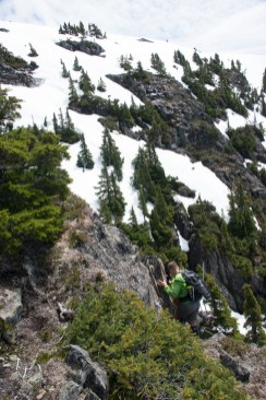 Phil chose a lower route. He loves to get out on the edge and he found some even on Mount Heber.