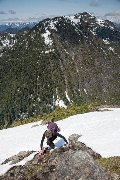Shannon working her way up the slope toward Mount Judson. Horseshoe Mountain in the background