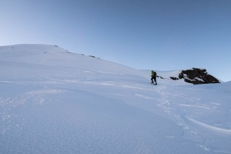 Phil, running up the slope to get out of the wind on the Adder Mountain trip