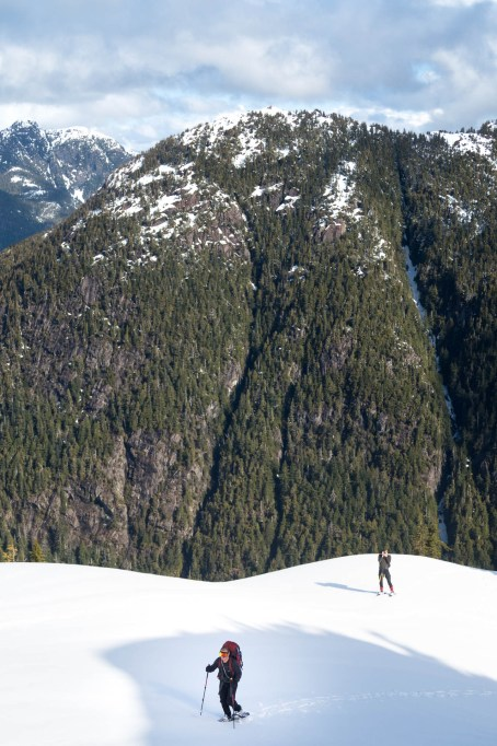 snowshoeing up to the ridge in the Mackenzie Range, on Vancouver Island