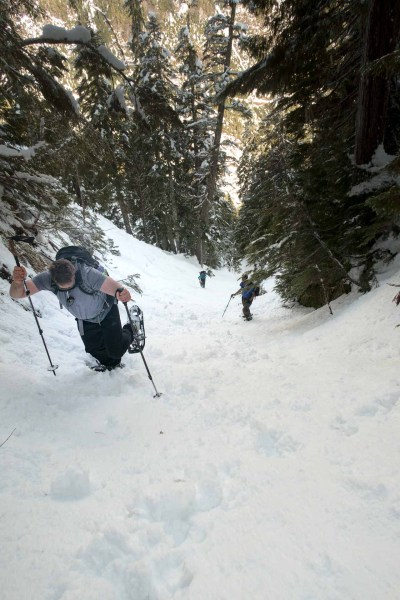A few steep snow slopes added to the fun of the day -- on the way to Big Baldy Mountain