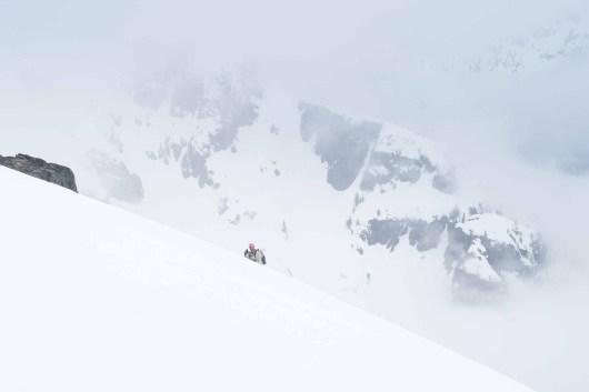 Rishi ascending the summit ridge on Mount Adam