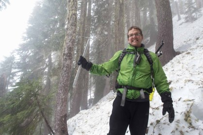 Phil in the foggy trees on our Mount Adam trip