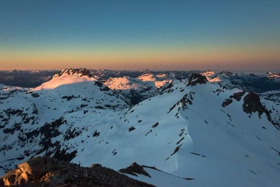 sunrise on Nine Peaks in Strathcona Park