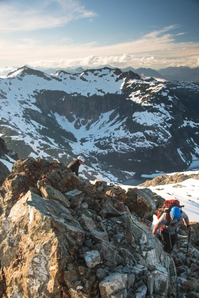 two hikers on the summit of Nine Peaks in Strathcona Park