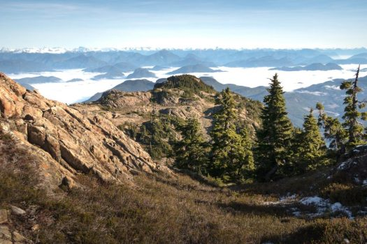 hiking to mount Roberts in the Prince of Wales Range on Vancouver Island
