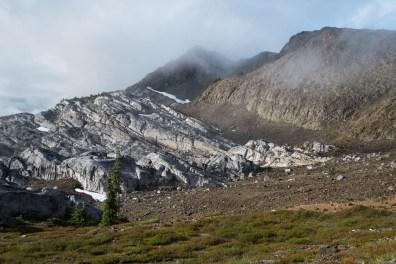 The ridge between the peaks.