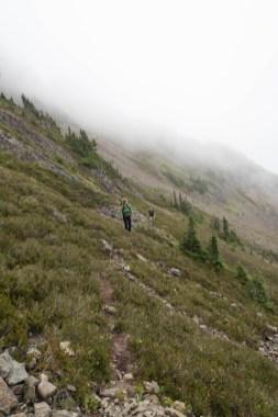 Traversing below the McBride summit Ridge we found the narrow boot-track.