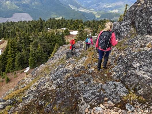 descending off the summit block