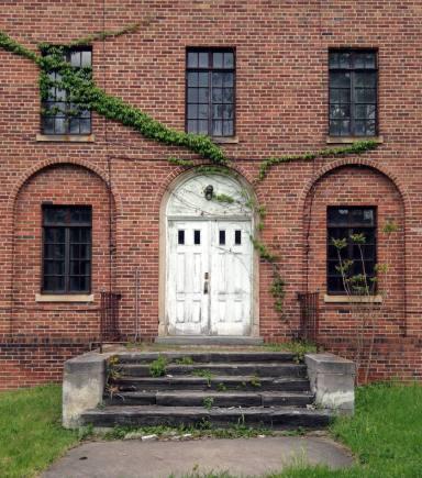 Doorway on building at the Willard Asylum