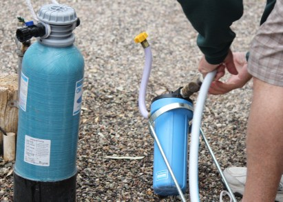 Uphook the water softener & water filter