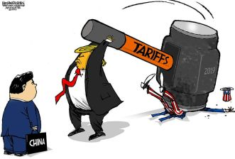 Image result for trade war cartoon