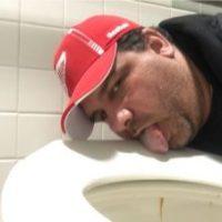 licking toilet