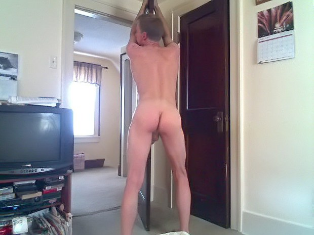 David Steckel naked with his ass on display