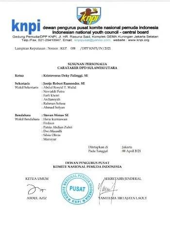 Dirut PD Pasar Manado Terima SK sebagai Sekretaris DPD KNPI Sulut, Rio Dondokambey Dibayang-Bayangi