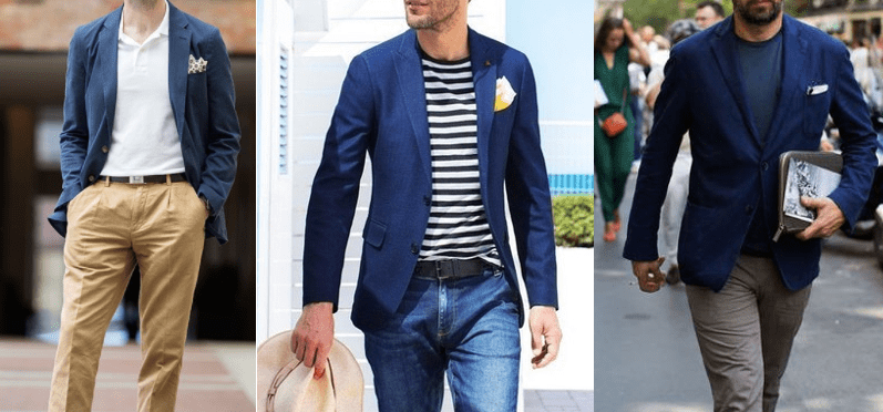 man navy blue blazer