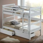 Modern White Childrens Bunk Bed With Drawers