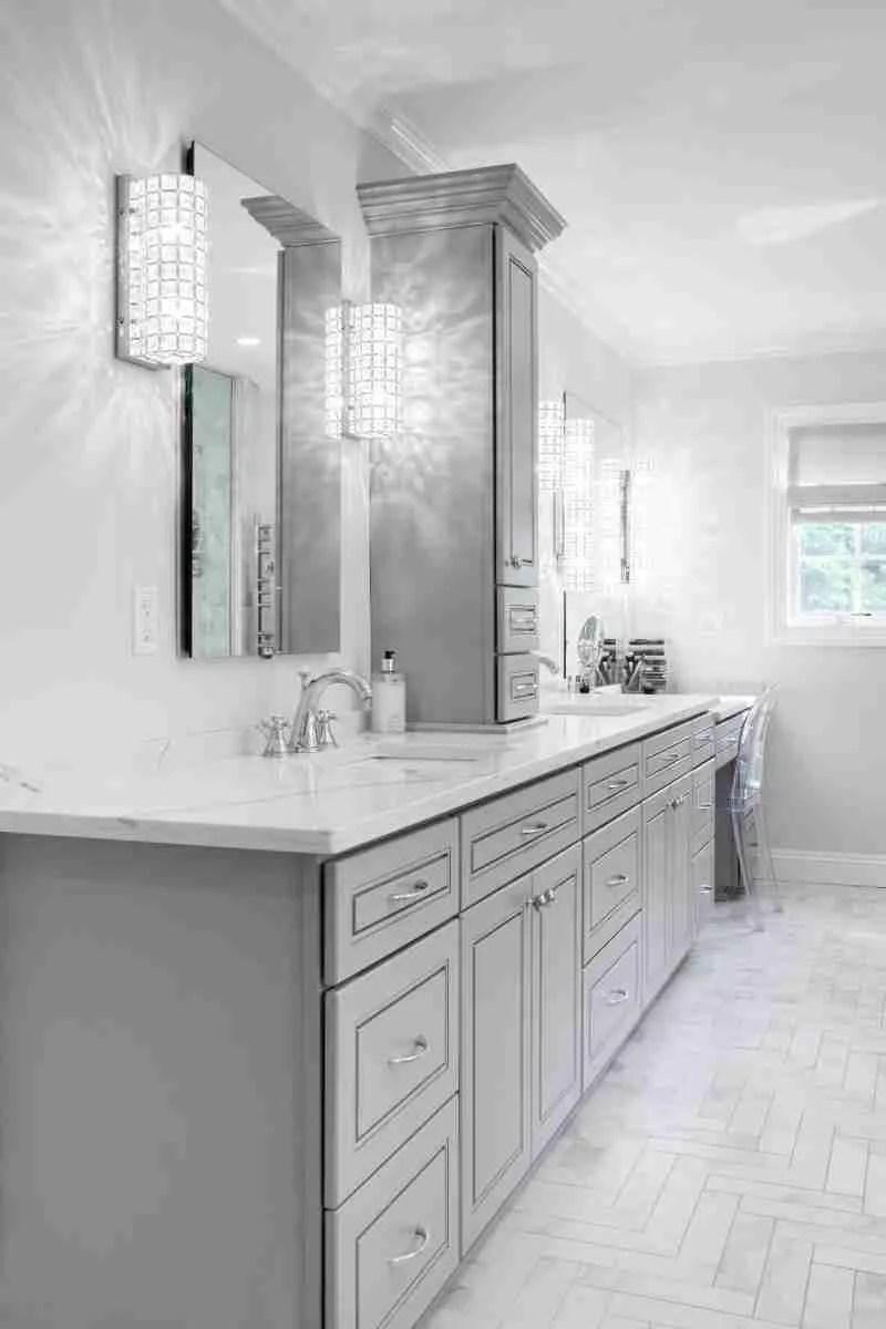 J&K Cabinetry Greige Bathroom Gray Design