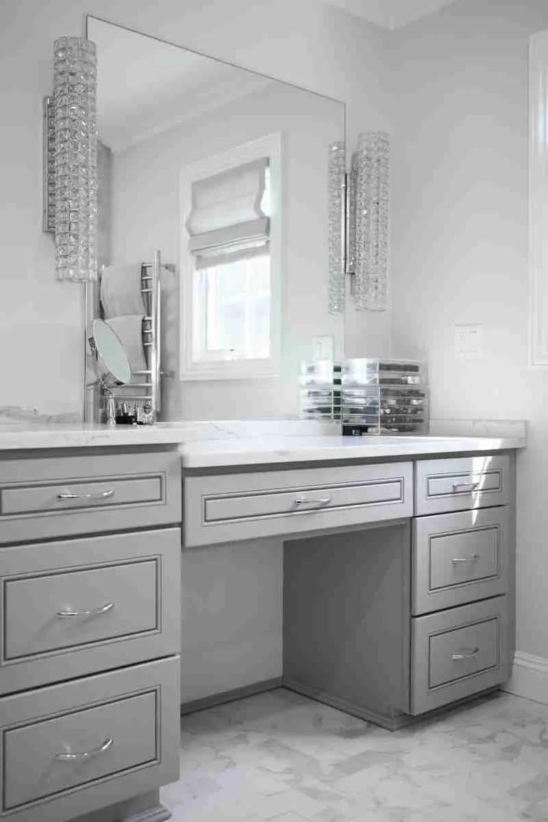 J&K Cabinetry Greige Bathroom Cabinets