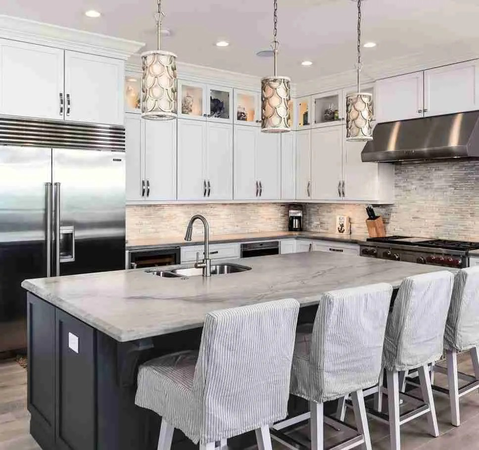 Starmark Cabinetry White Kitchen Cabinets with Gray