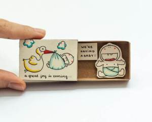 Cute DIY Matchbox Cards for Pregnancy announcements baby announcements