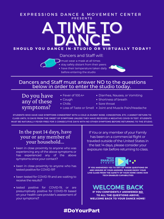 Screening Questions for Staff and Dancers to return safely to the dance studio