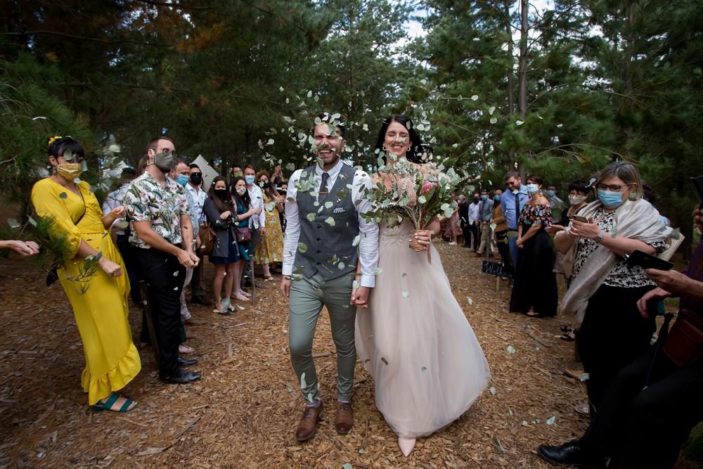 Cherry Glamping wedding confetti shot