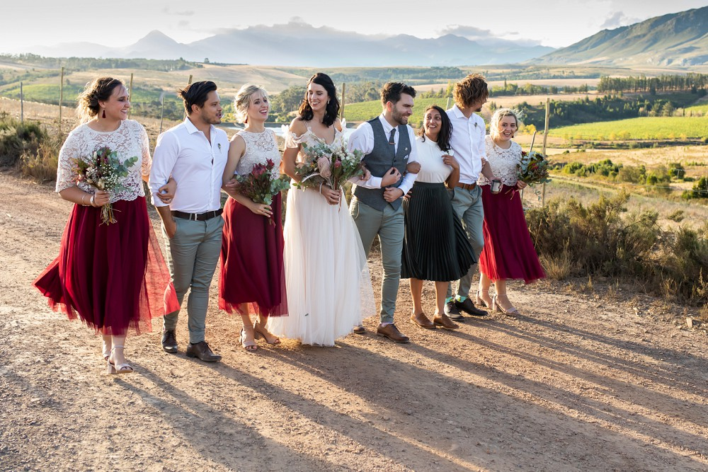 Cherry Glamping wedding Bridal party