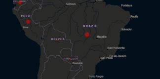 Mapa de casos de coronavírus na América do Sul. Recorte.