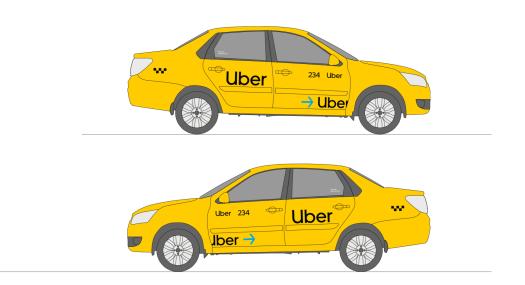 Образец оклейки Uber для автомобилей с молдингом