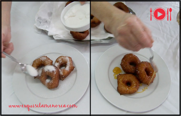 Los bunyols de patata se pueden servir con azúcar o con miel