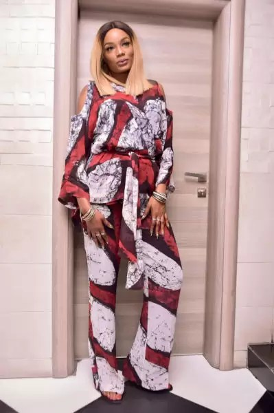 Ono Bello in Tie & Dye Print Trousers & Wrap Top by Nigeria Brand Amede 2