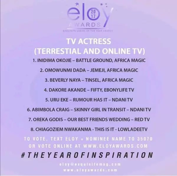 Eloy Awards nominees list:More categories on release!!! 4